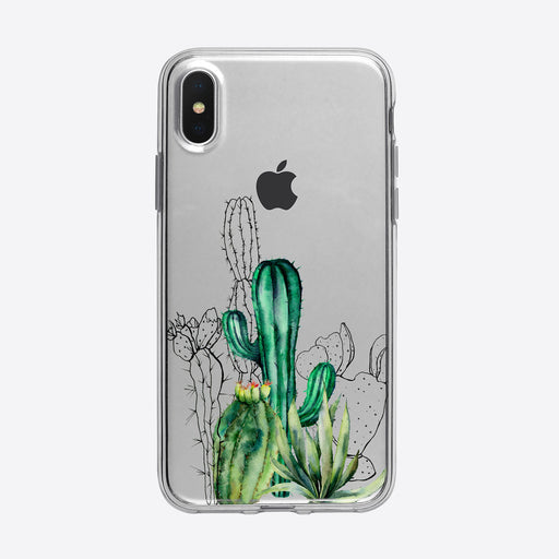 Beautiful Cactus and Outlines iPhone Case by Tiny Quail
