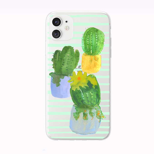 Watercolor Cactus on Stripes iPhone Case by Tiny Quail