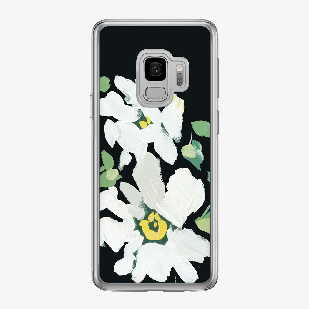 Canvas White Daisies Noir Samsung Galaxy Phone Case from Tiny Quail