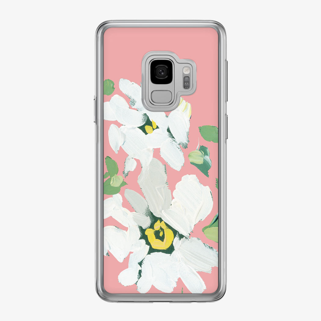 Canvas White Daisies on Peach Samsung Galaxy Phone Case from Tiny Quail