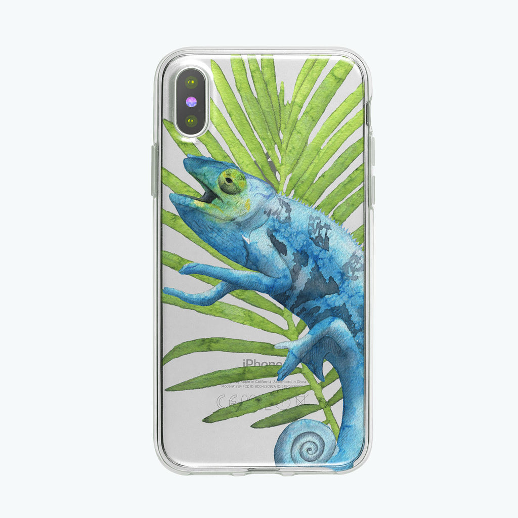 Chatty Blue Chameleon iPhone Case by Tiny Quail