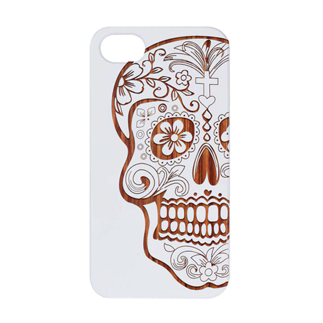 White Coated Rose Wood Engraved Skull Christ iPhone Case by Otto
