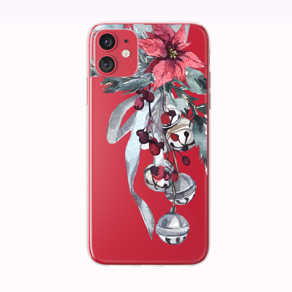 Christmas Bells Floral red iPhone Case from Tiny Quail