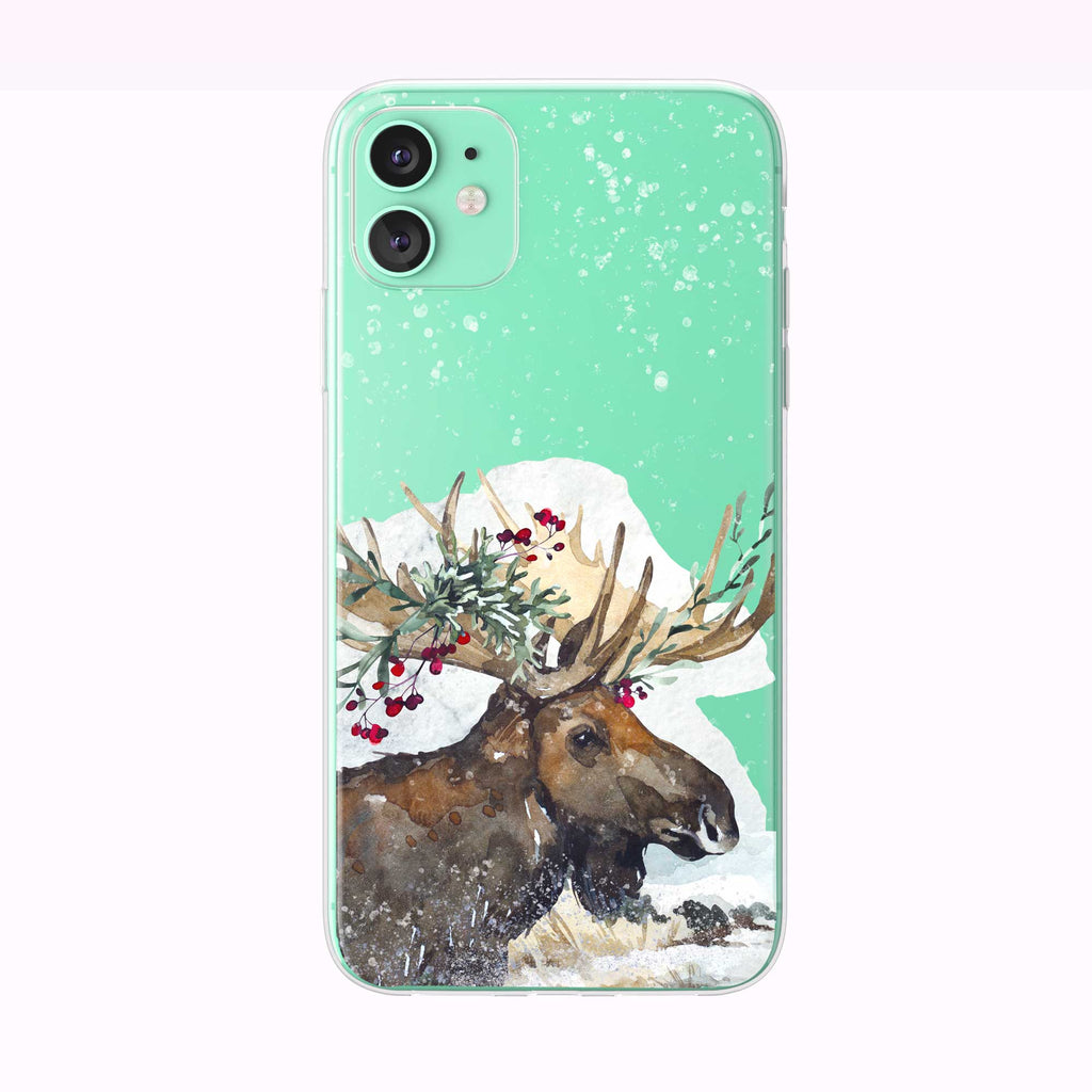 Festive Holiday Moose green iPhone Case from Tiny Quail