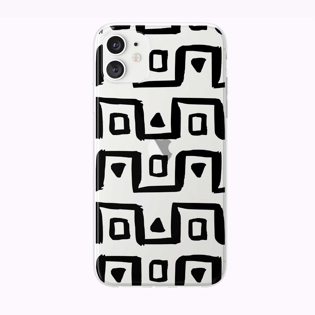 Chunky Lines Pattern White Clear iPhone Case from Tiny Quail