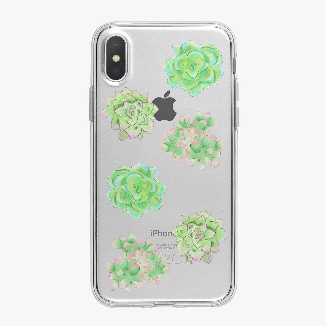 Green Succulents Clear Designer iPhone Case From Tiny Quail