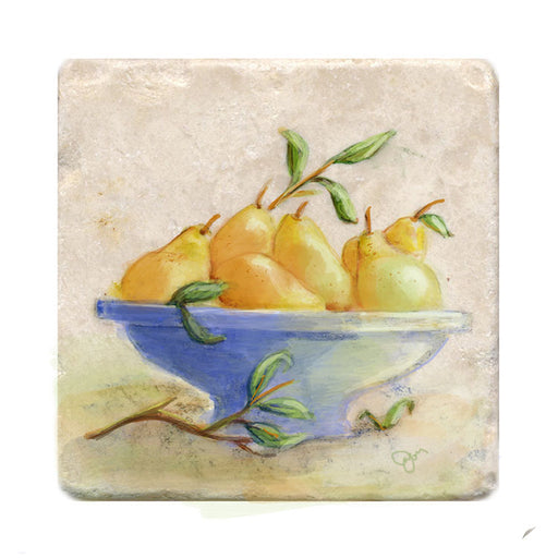 Pears in Bowl Tile Art Stone Trivet by Tiny Quail