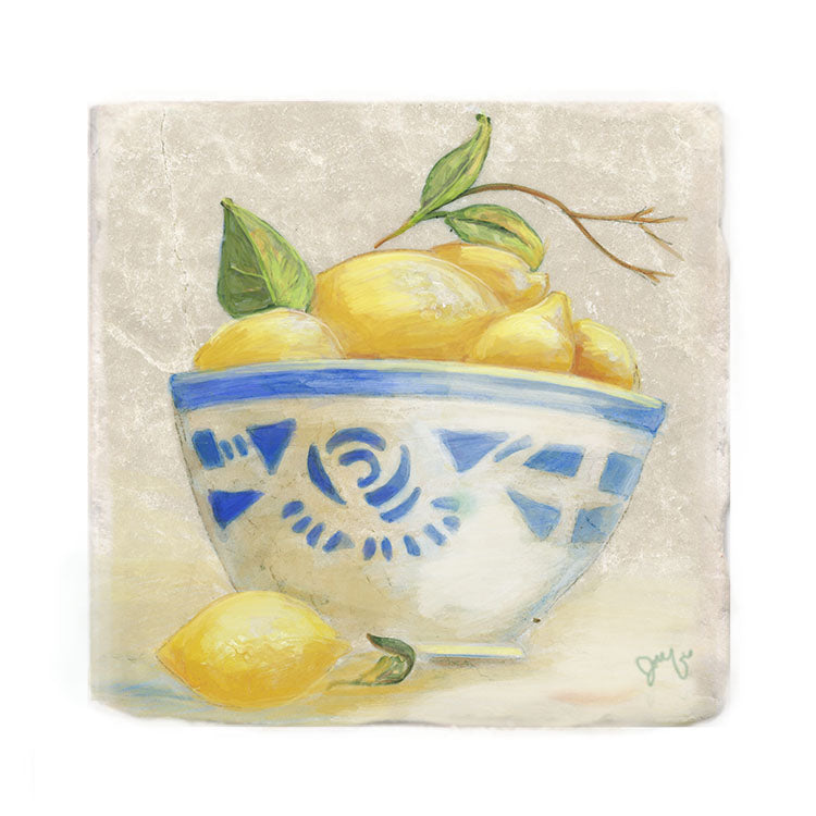 Lemons in Blue and White Bowl Tile Art Stone Trivet by Tiny Quail