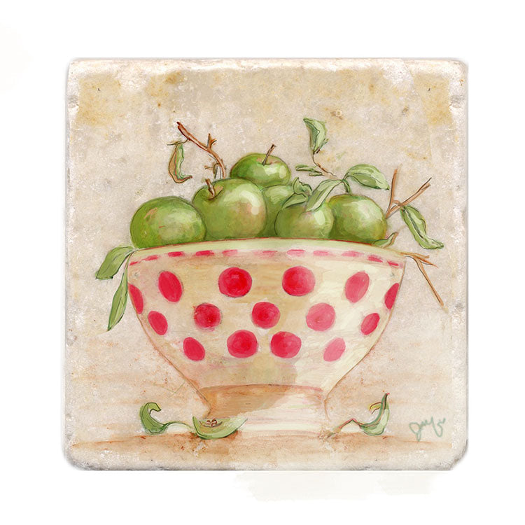 Apples in Polka Dot Bowl Tile Art Stone Trivet by Tiny Quail