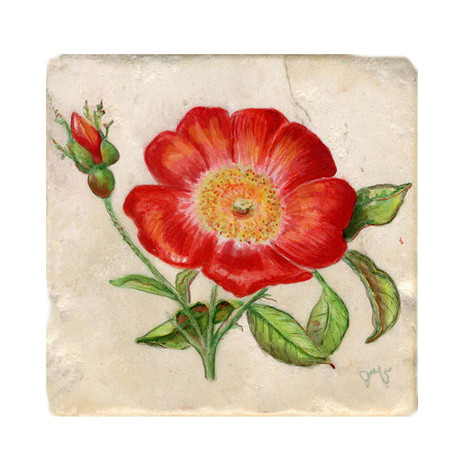 Wild Rose Tile Art Stone Trivet by Tiny Quail