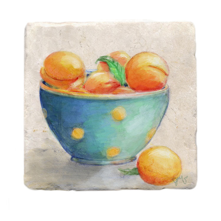 Peaches in Polka Dot Bowl Tile Art Stone Trivet by Tiny Quail