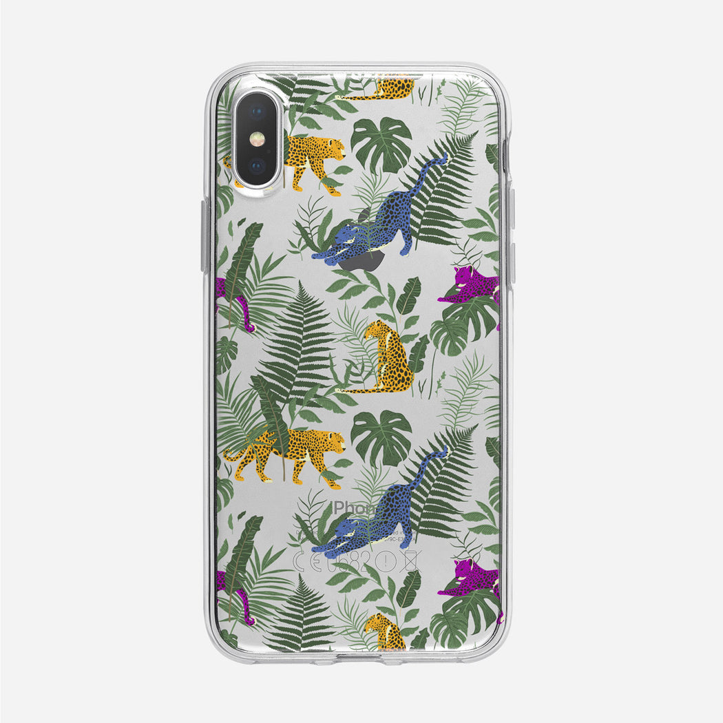 Colorful Leopard Jungle Pattern Clear iPhone Case from Tiny Quail