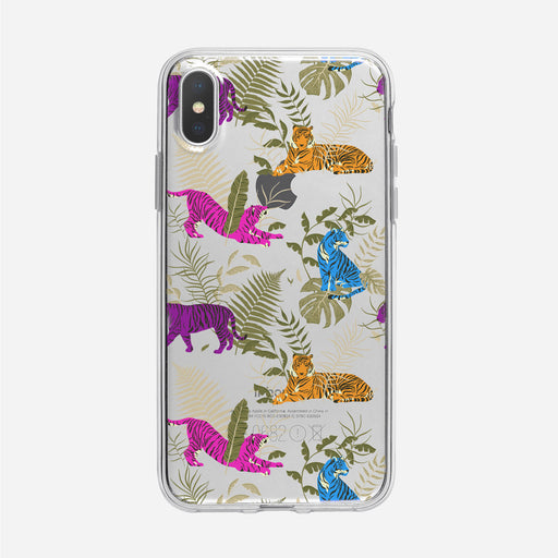 Multicolored Tiger Pattern Clear iPhone Case from Tiny Quail