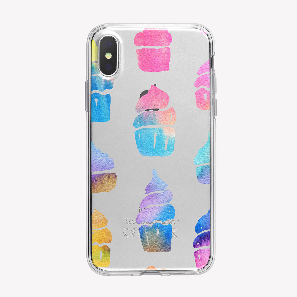 Pastel Cupcakes Pattern Clear iPhone Case from Tiny Quail