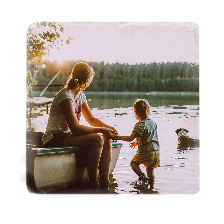 Mother and son printed on Stone Tile Custom Coaster