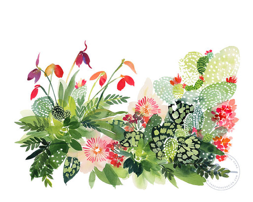 Cactus Panorama Watercolor Archival Wall Art Print by Yao Cheng Design without frame