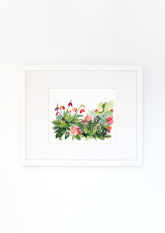 Sweet Dahlias Watercolor Archival Wall Art Print by Yao Cheng Design