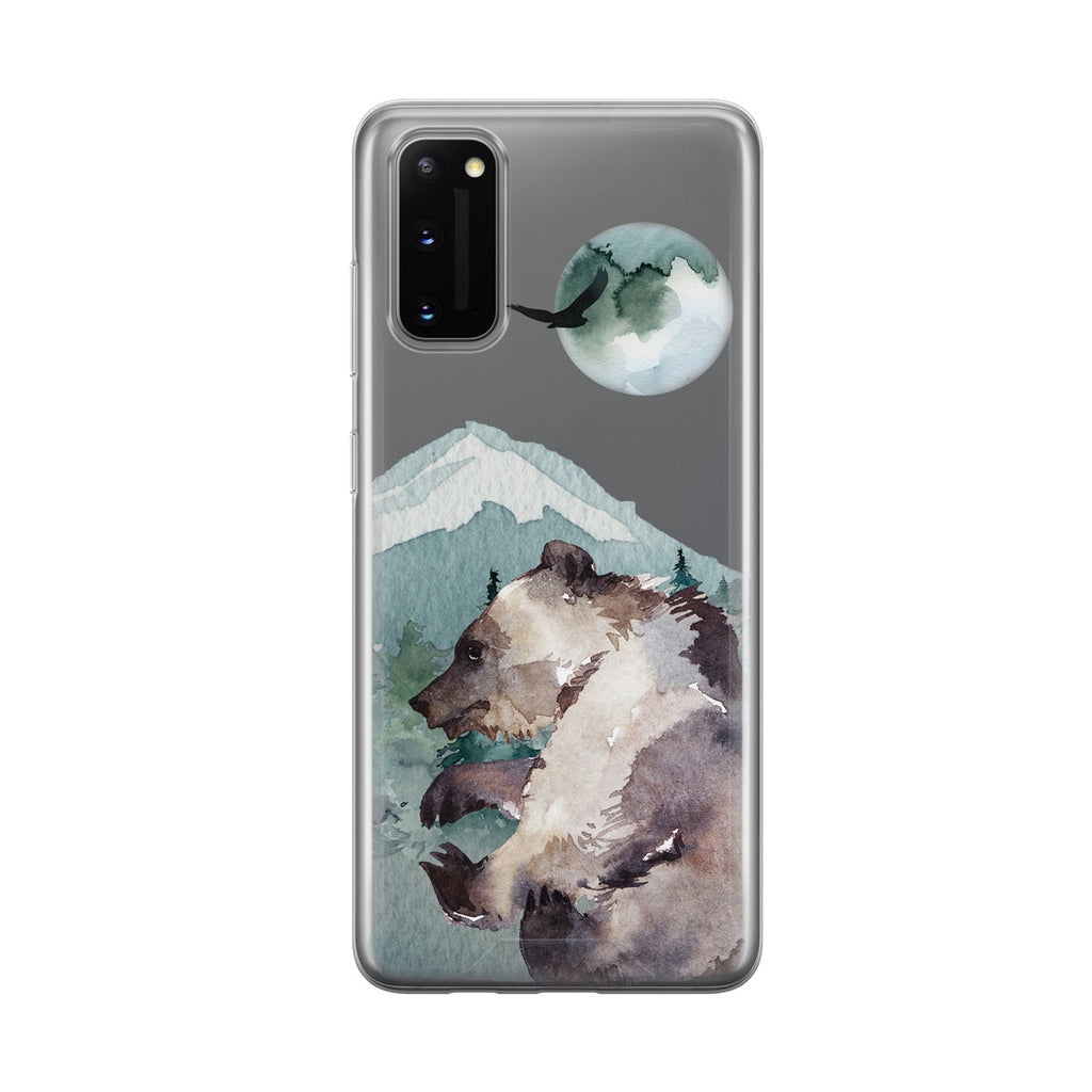 Dancing Grizzly Bear Clear Samsung Galaxy Phone Case From Tiny Quail