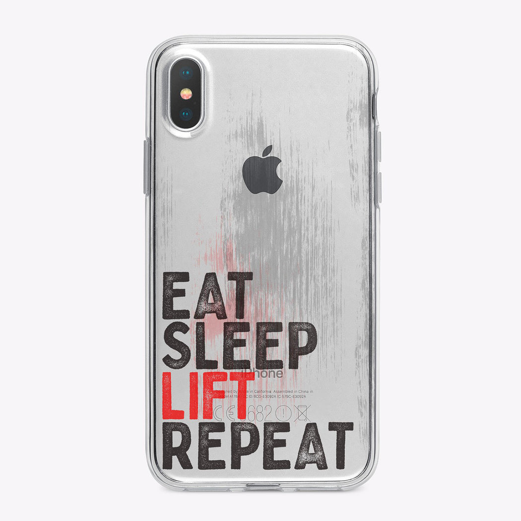 Eat Sleep Lift Repeat Fitess Clear Designer iPhone Case From Tiny Quail