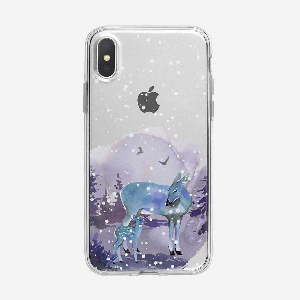 Blue Deer with Fawn and Snow iPhone Case from Tiny Quail