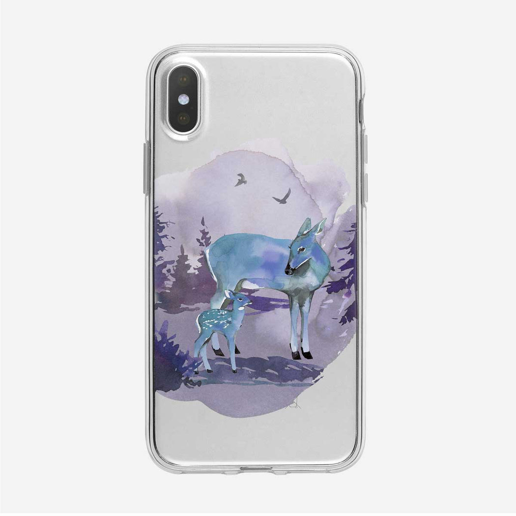 Blue Deer with Faun iPhone Case from Tiny Quail