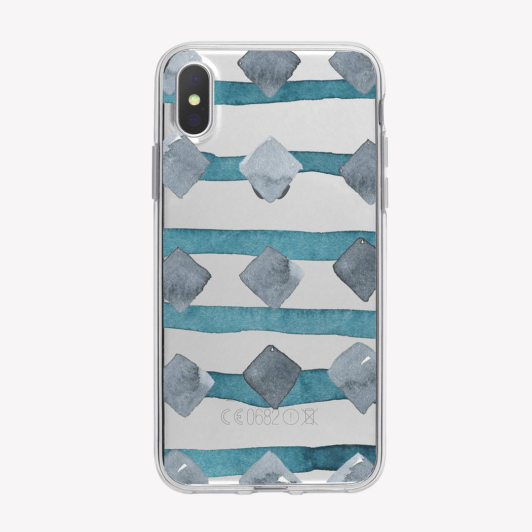 Diamond Stripes Pattern Clear iPhone Case from Tiny Quail