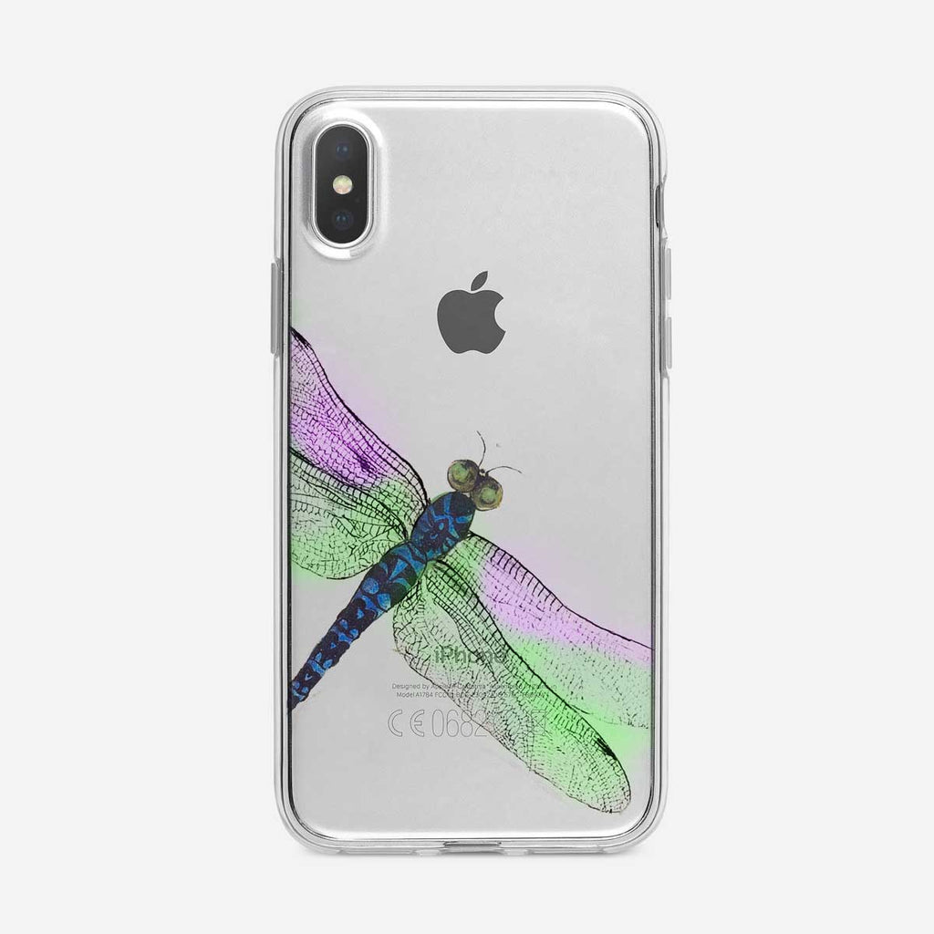 Colorful Dragonfly Clear iPhone Case from Tiny Quail