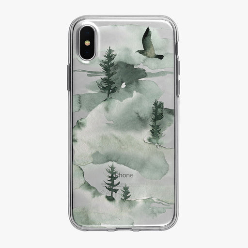 Dreamy Watercolor Forest Mountain iPhone Case from Tiny Quail