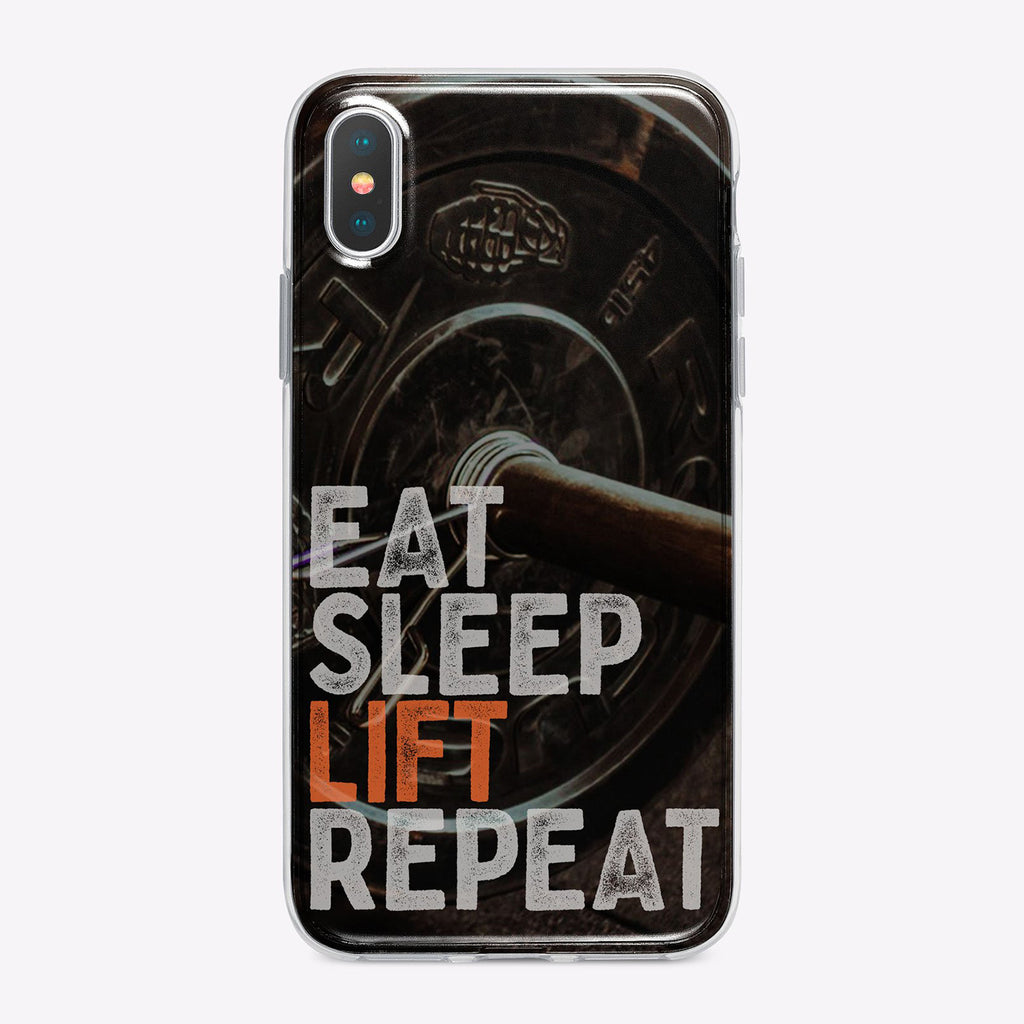 Eat Sleep Lift Repeat Fitness Designer iPhone Case From Tiny Quail