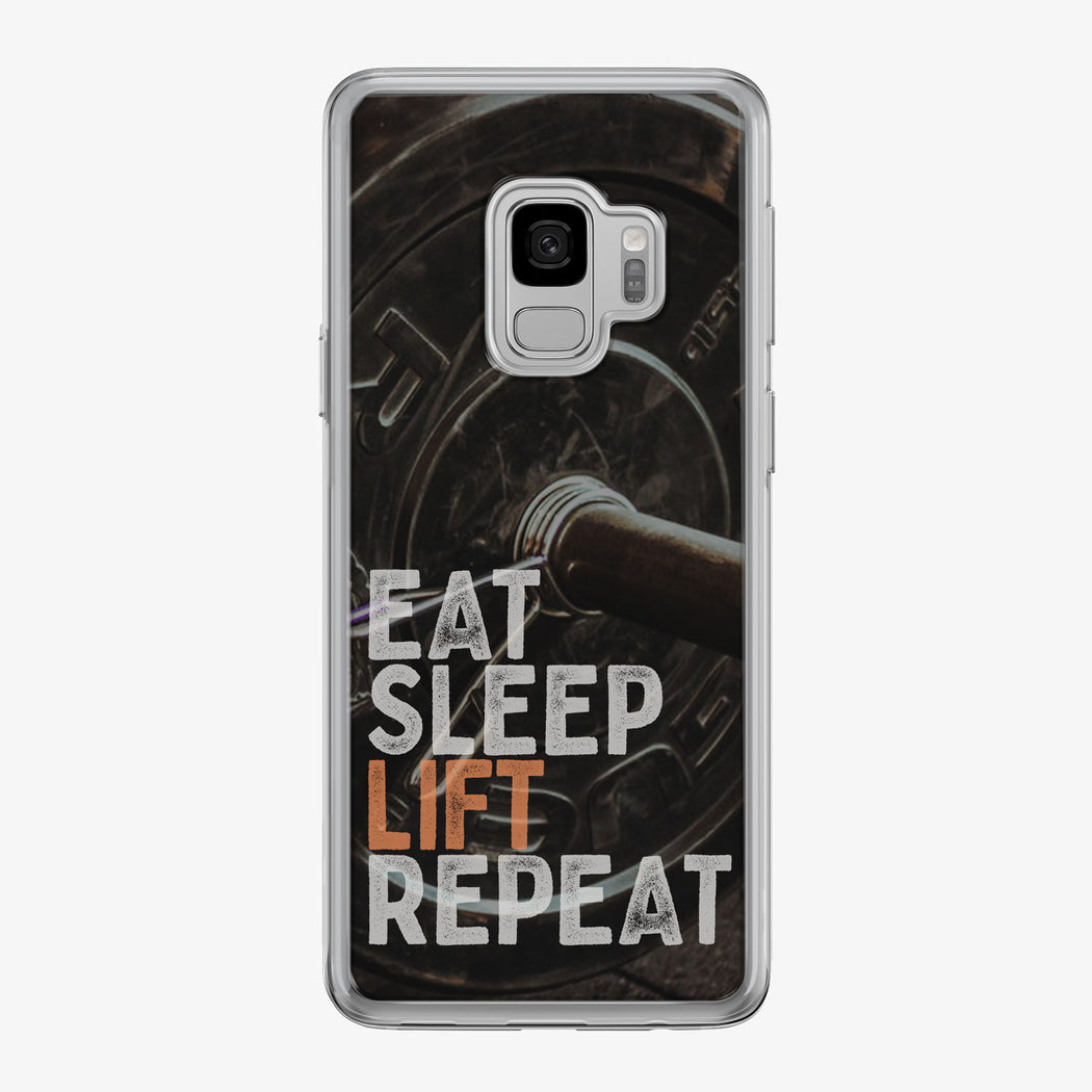 Eat Sleep Lift Repeat Samsung Galaxy Fitness Phone Case by Tiny Quail