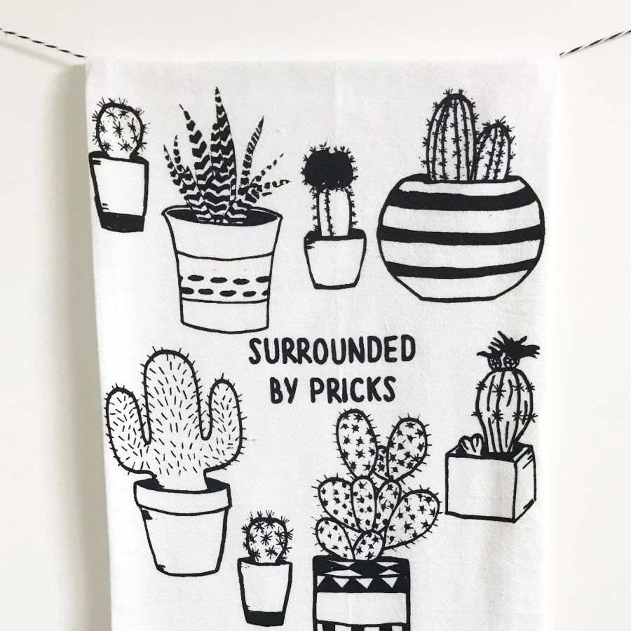 Surrounded By Pricks Funny Kitchen Towel From The Coin Laundry