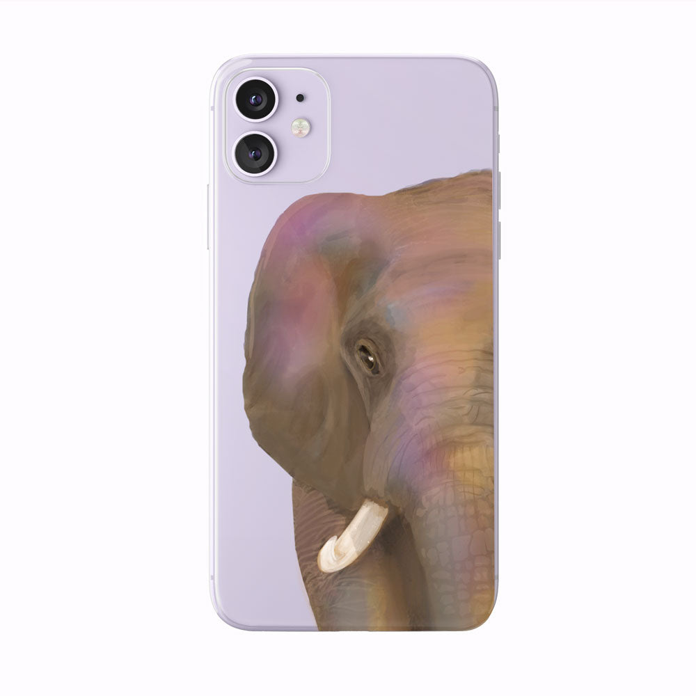 Colorful Watercolor Half Face Elephant iPhone case by Tiny Quail.