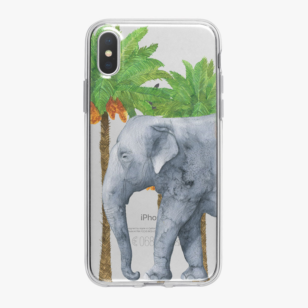 Watercolor Palm Tree Elephant iPhone Case from Tiny Quail