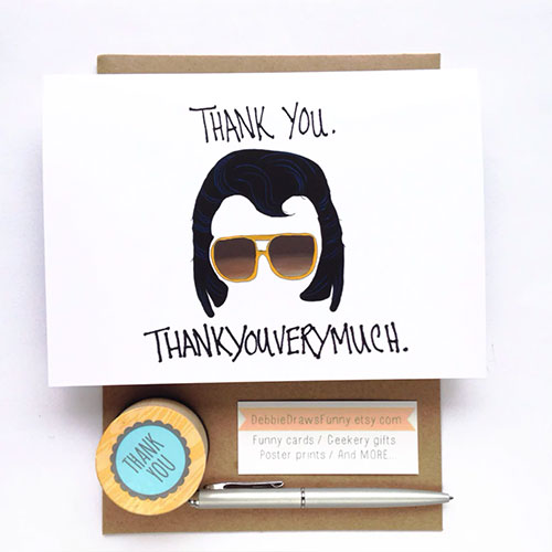 Elvis Thank You Funny Greeting Card From Debbie Draws Funny