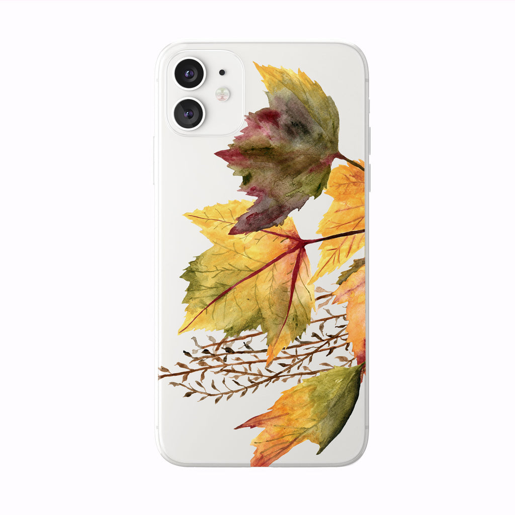 Colorful Fall Leaves on white iPhone Case from Tiny Quail