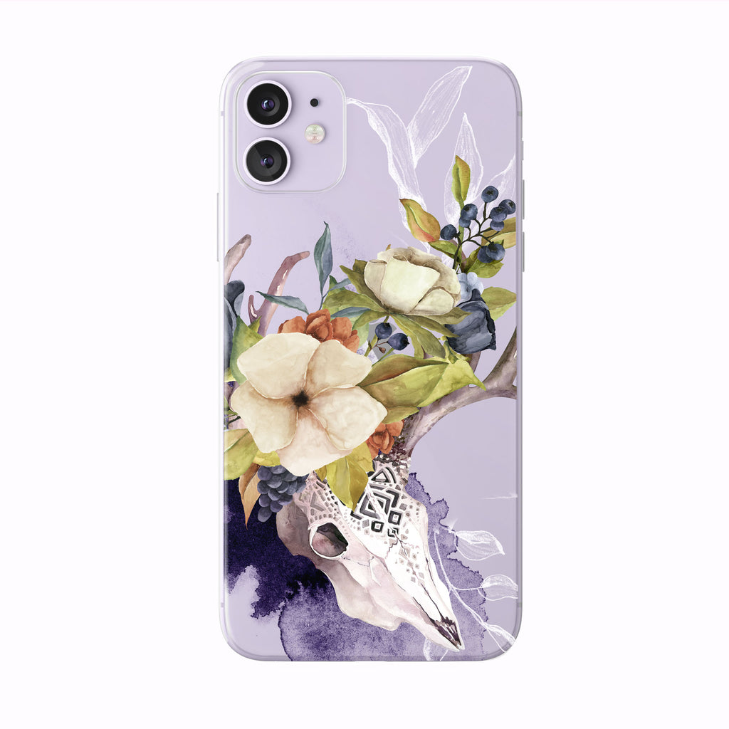 Watercolor Fall Skull and Floral  iPhone Case from Tiny Quail