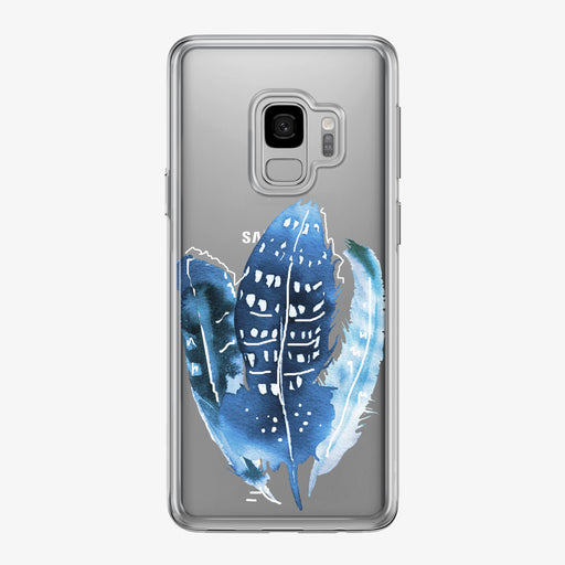 Boho Blue Feathers Samsung Galaxy Phone Case from Tiny Quail