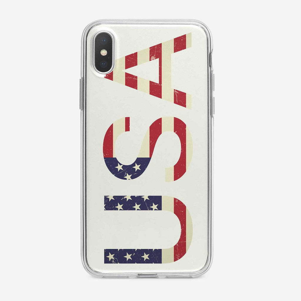 American Flag with U.S.A Text iPhone Case by Tiny Quail