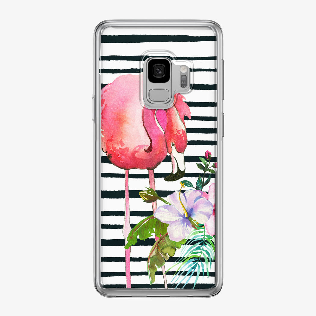 Floral Flamingo with Stripes Samsung Galaxy Phone Case from Tiny Quail