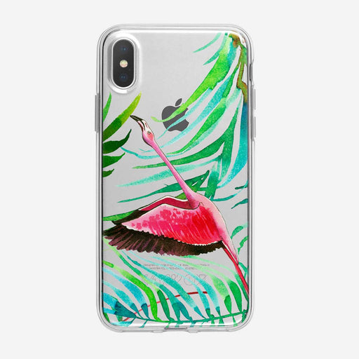 Flying Tropical Flamingo Clear iPhone Case from Tiny Quail