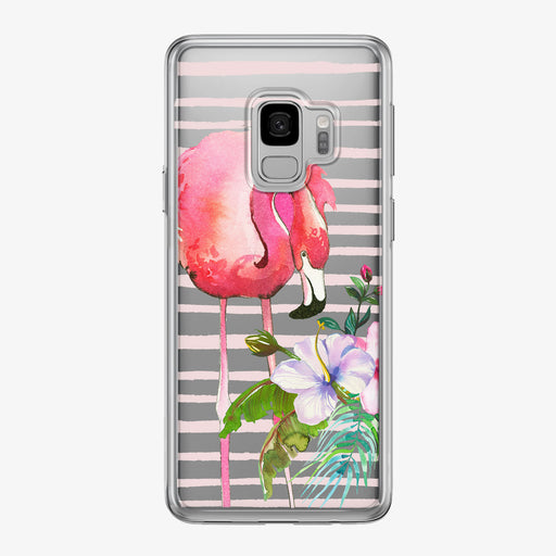 Floral Flamingo Stripes Clear Samsung Galaxy Phone Case from Tiny Quail
