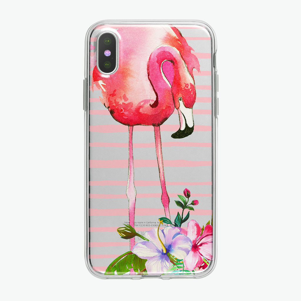 Floral Flamingo Pink Stripes Clear iPhone Case from Tiny Quail