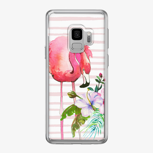 Floral Flamingo Pink Stripes Samsung Galaxy Phone Case from Tiny Quail