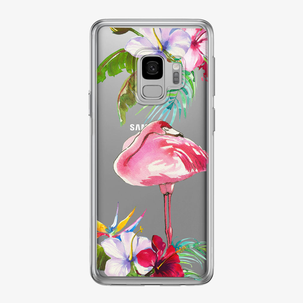 Cute Tropical Floral Flamingo Clear Samsung Galaxy Phone Case from Tiny Quail