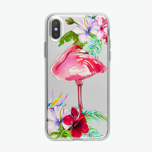 Cute Tropical Floral Flamingo Clear iPhone Case from Tiny Quail