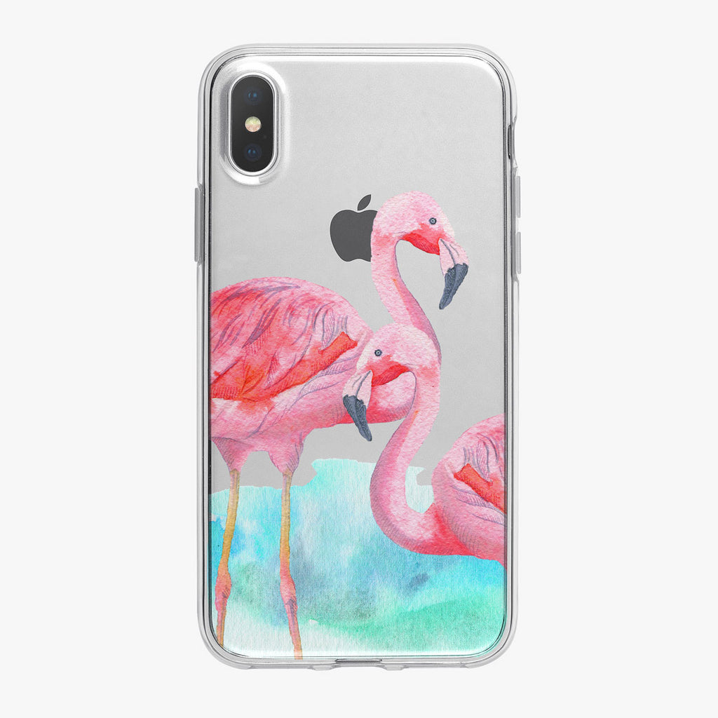 Watercolor Basking Flamingos iPhone Case from Tiny Quail