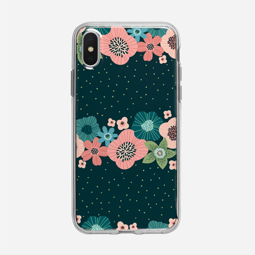Flat Graphic Floral Dots iPhone Case From Tiny Quail