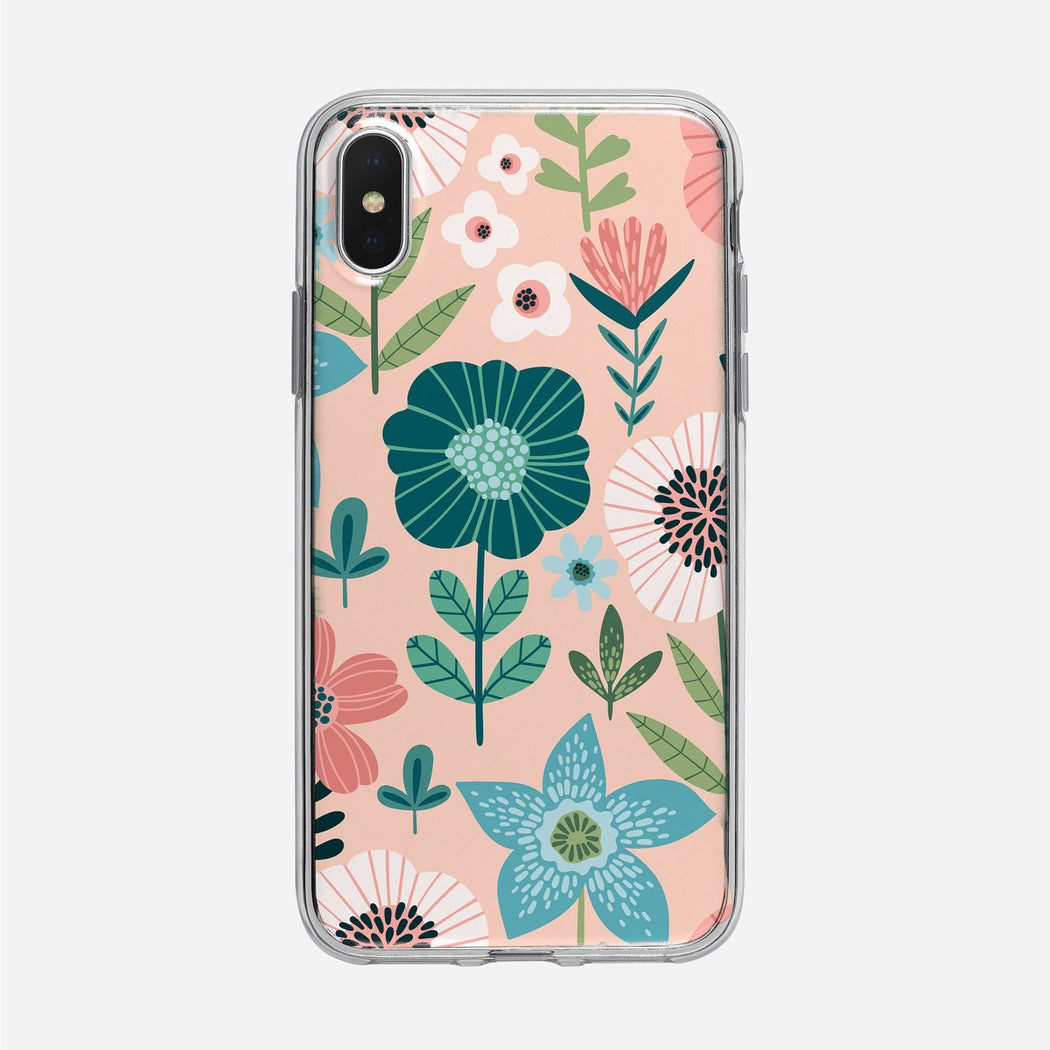 Flat Graphic Floral on Pink iPhone Case From Tiny Quail