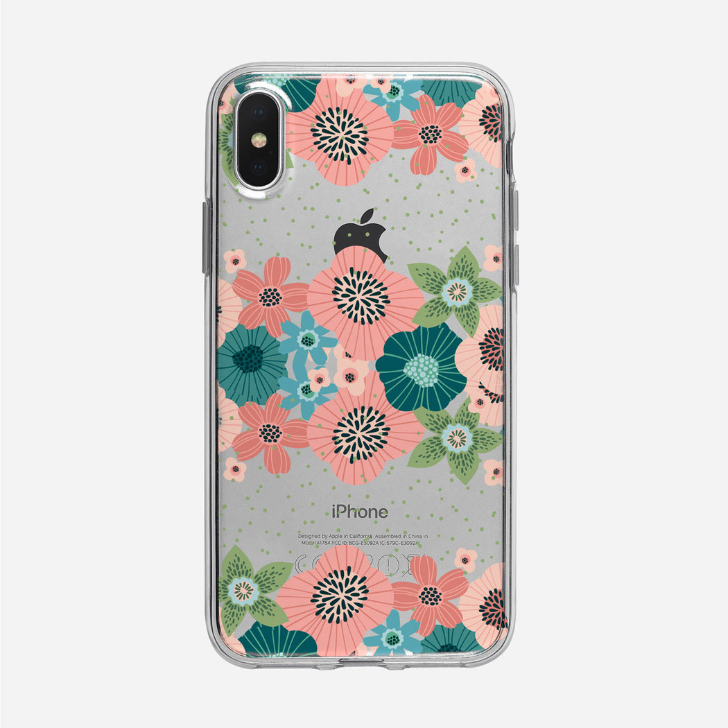 Flat Graphic Floral Stripes iPhone Case From Tiny Quail