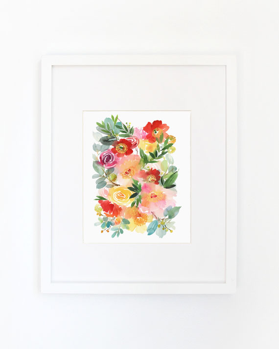 Peonies & Poppies Alike Watercolor Archival Wall Art Print, Yao Cheng